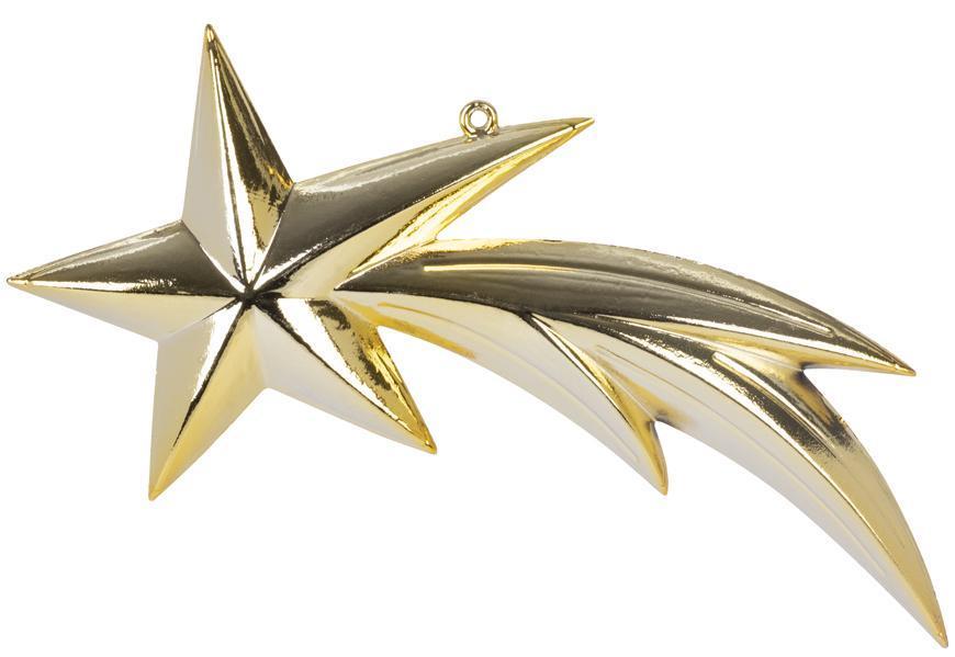 Ozdoba MagicHome Vianoce, 1 ks, 23 cm, kométa, zlatá, na vianočný stromček