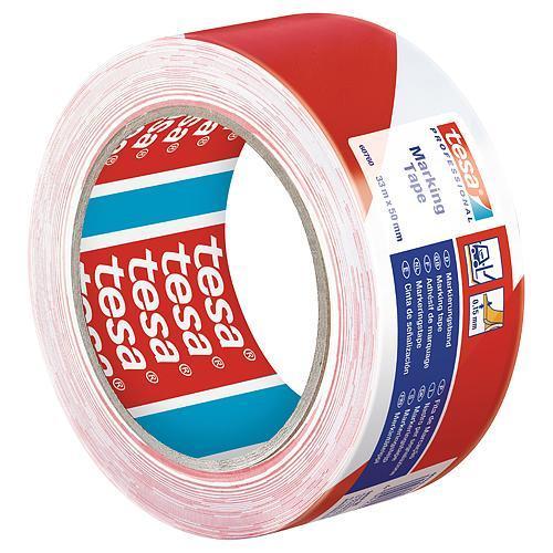 Paska tesa® PRO Marking, lepiaca, výstražná, červeno-biela, 50 mm, L-33 m