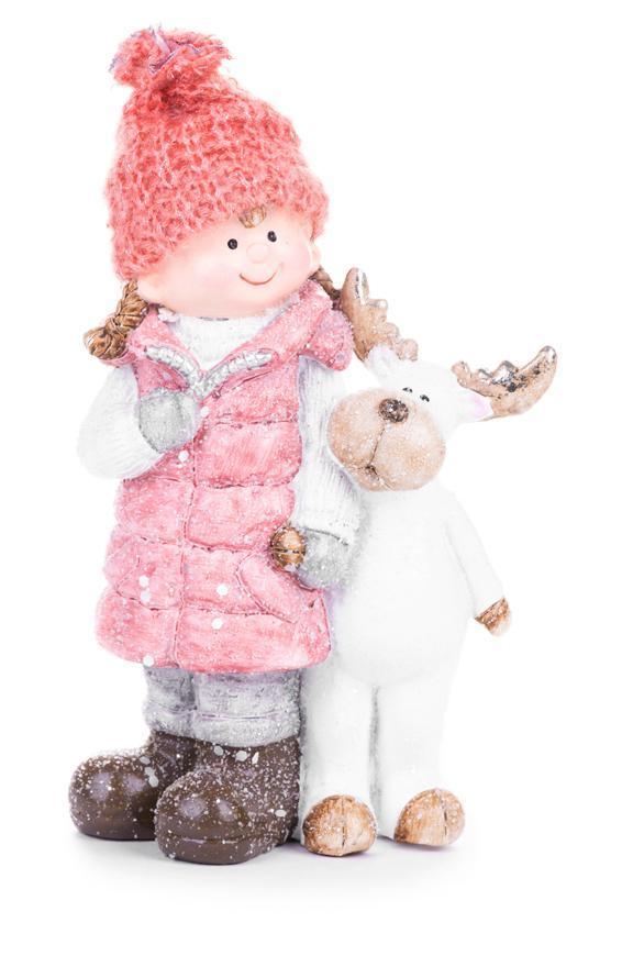 Postavička MagicHome Vianoce, Dievčatko so sobíkom, keramika, 13,5x7,5x21 cm