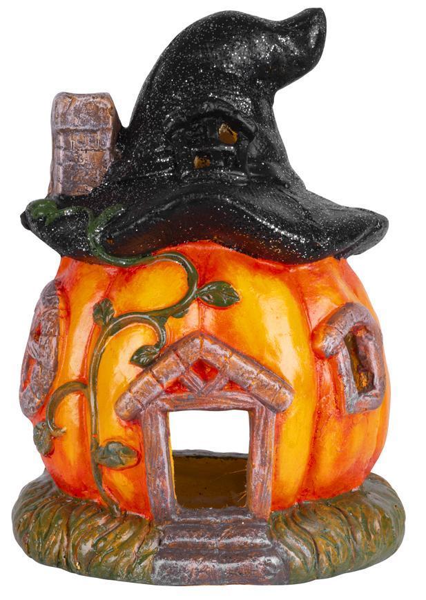 Dekorácia MagicHome Nature, Tekvica, domček, s klobúkom, keramika, 21,50x21,50x30 cm