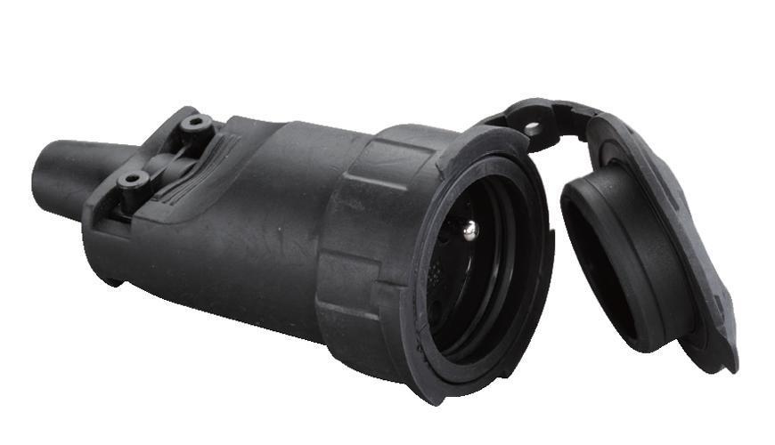 Zásuvka Strend Pro, čierna, na kábel, 250 V, IP20, 16A