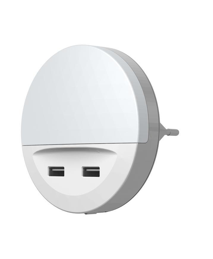 Svietidlo LEDVANCE LUNETTA® USB, LED, zásuvkové, 2x USB nabíjací port, 3lm, 3000K, senzor deň-noc