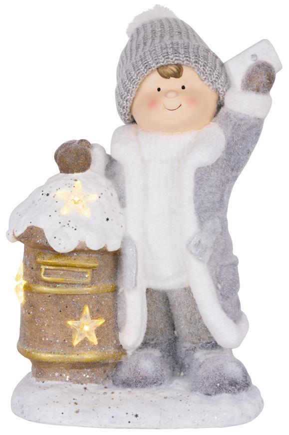 Dekorácia MagicHome Vianoce, Chlapček so schránkou, 1 LED, 3xAA, keramika, 33x23x45 cm