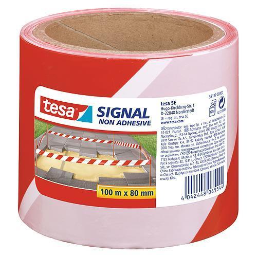 Páska tesa® SIGNAL, 80 mm, výstražná, červená/biela, L-100 m