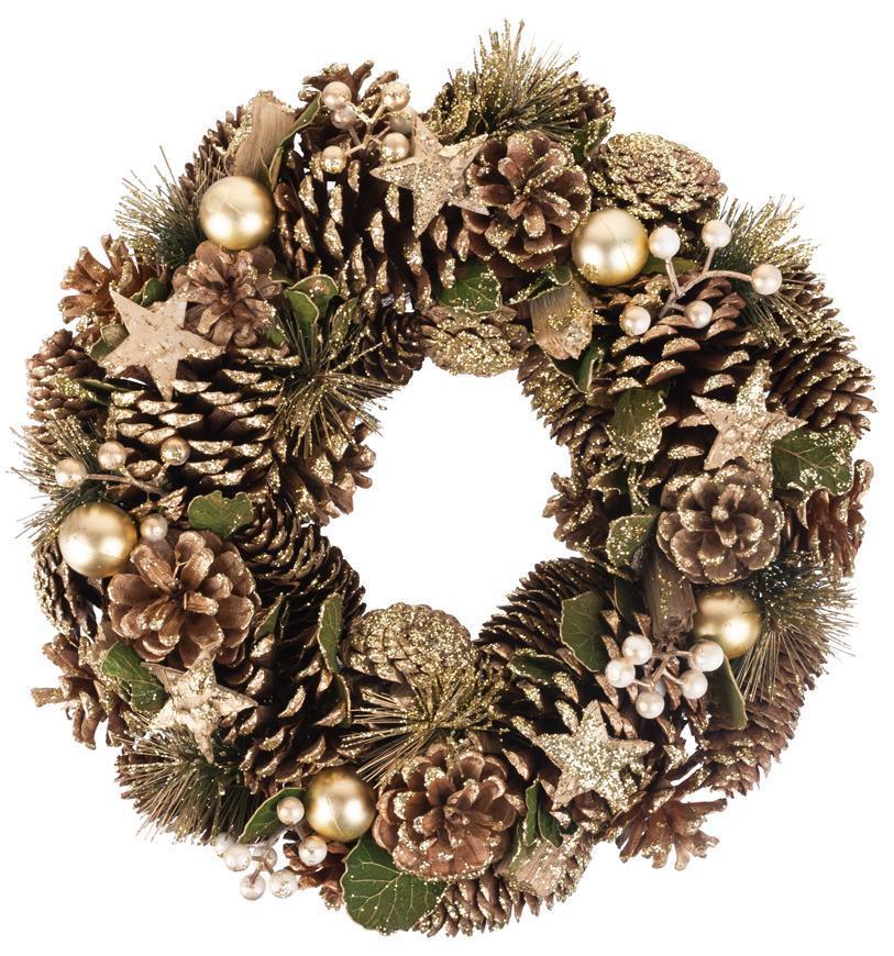 Veniec MagicHome Vianoce, prírodný, bronzový, 34 cm