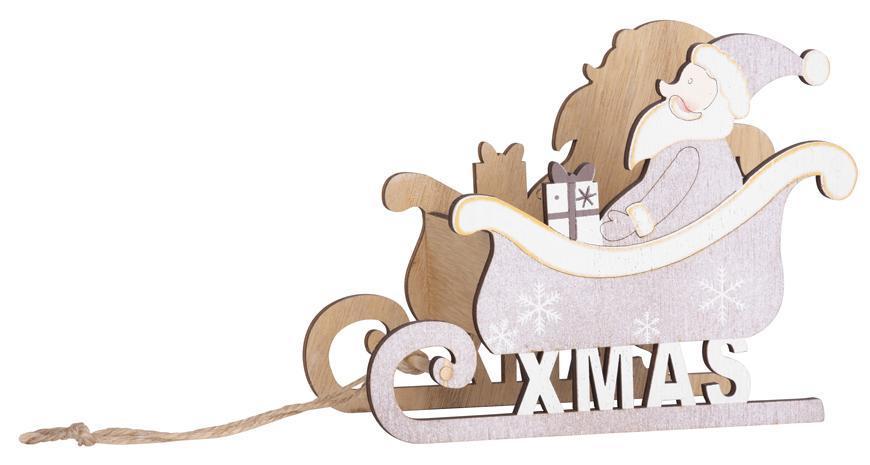 Dekorácia MagicHome Vianoce Woodeco, Santa v saniach, 19x15 cm