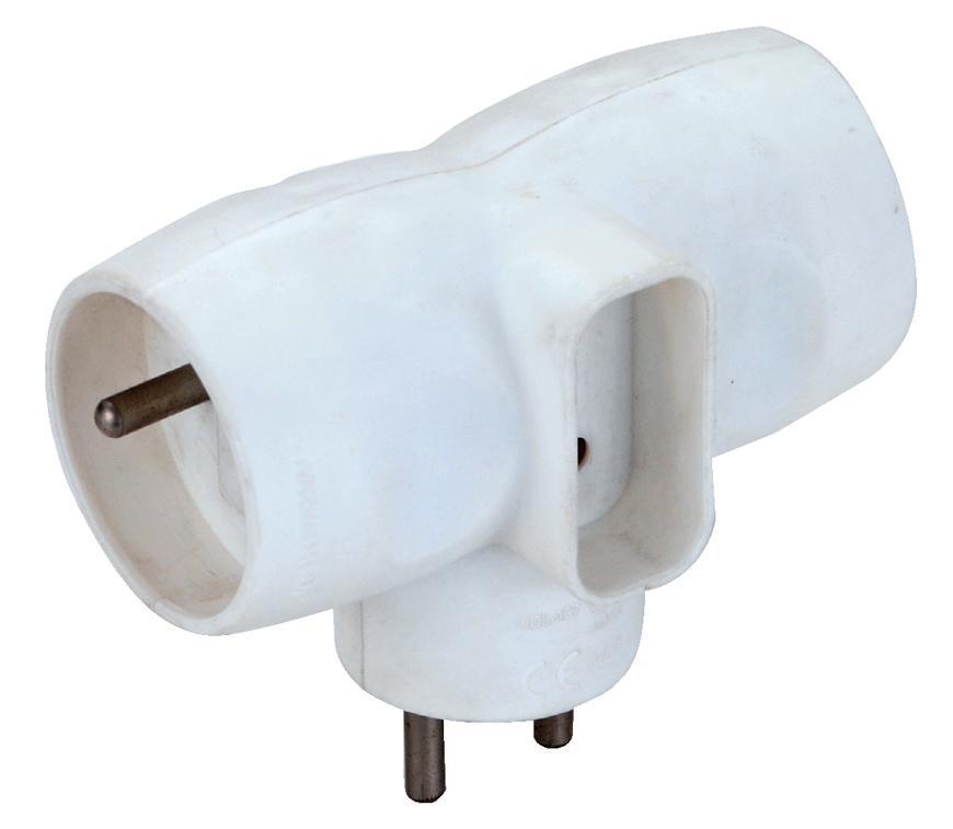 Zásuvka rozbočovacia Strend Pro, biela, 230 V, IP20, max. 3680 W, 1x6A, 2x16A