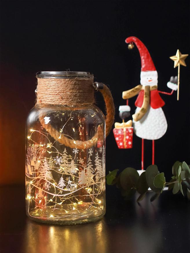 Dekorácia MagicHome Vianoce, Sklenená dóza, 30 LED teplá biela, 3xAAA, IP44, exteriér, 13x23,50 cm