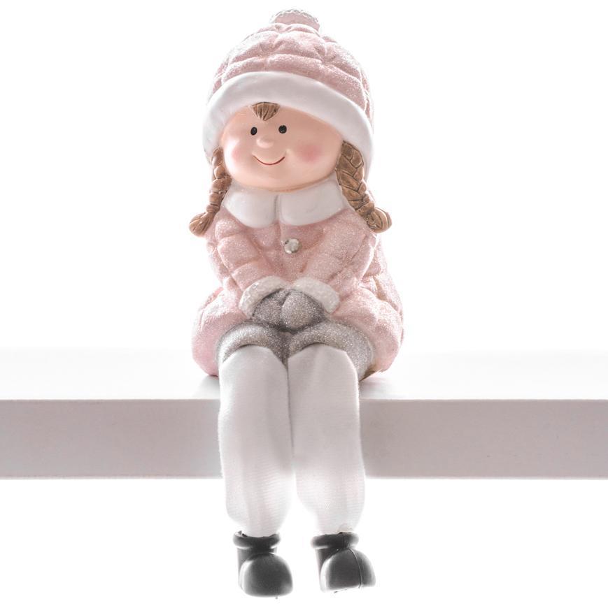 Postavička MagicHome Vianoce, Dievčatko, polyresin, 8,5x8x13,5 cm