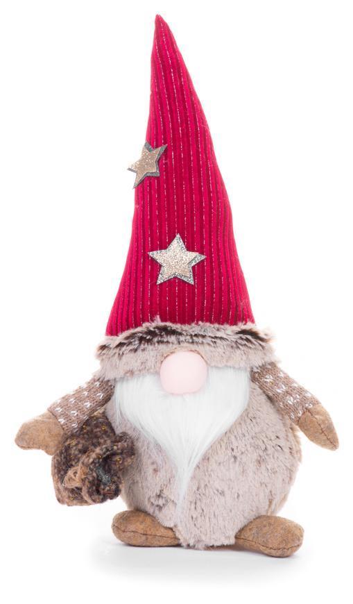 Postavička MagicHome Vianoce, Škriatok s krátkymi nohami a dlhou bradou, látkový, červeno-hnedý, 19x