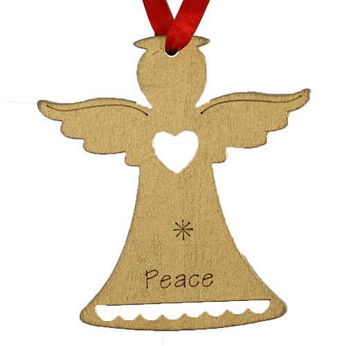 Ozdoba MagicHome Vianoce, Anjel PEACE, závesná, zlatá, bal. 5 ks