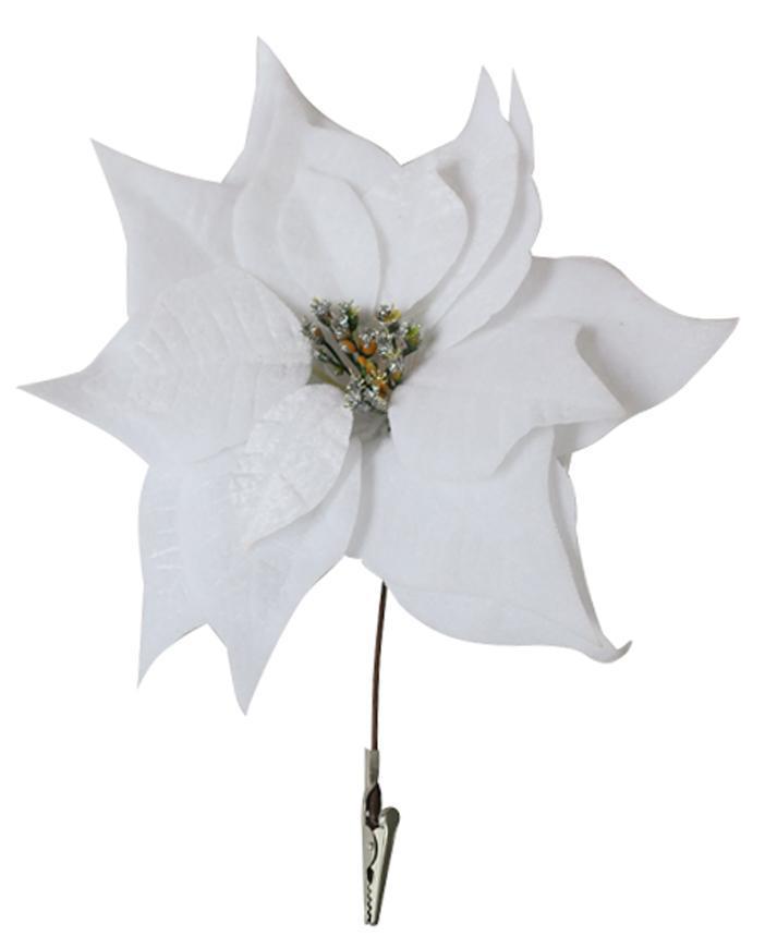 Kvet Poinsettia, so štipcom, biely, 25x26cm, 6 ks