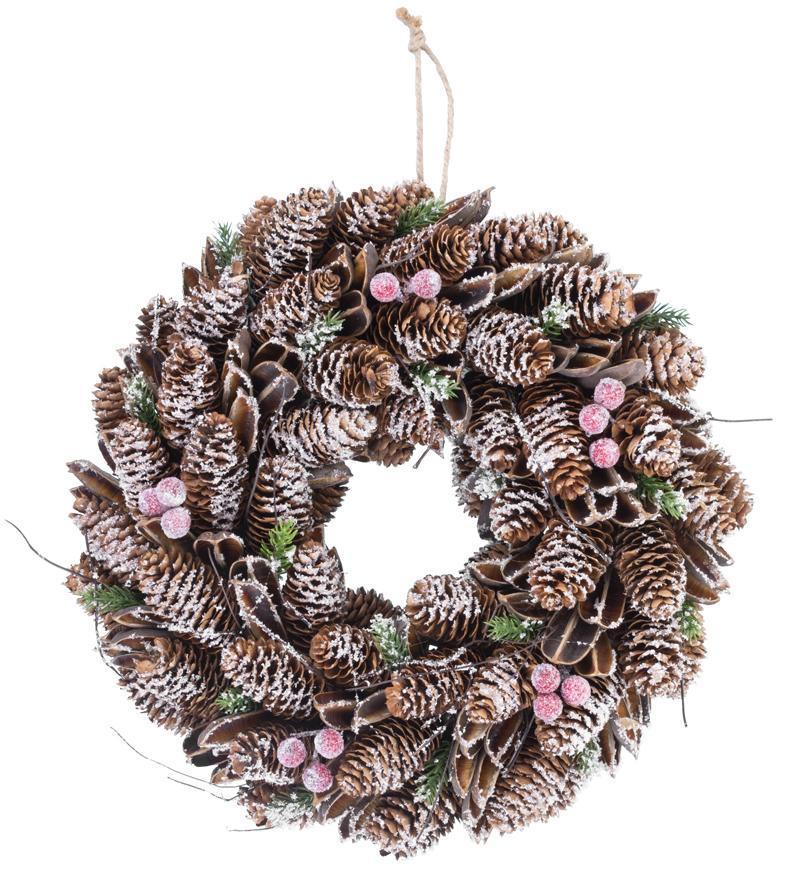Veniec MagicHome Vianoce, zasnežený, šišky, 37x09x37 cm