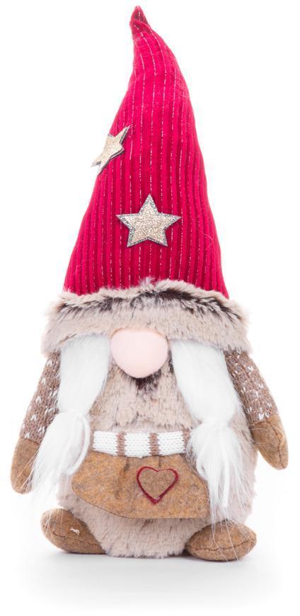 Postavička MagicHome Vianoce, Škriatok s krátkymi nohami a krátkou bradou, látkový, červeno-hnedý, 1