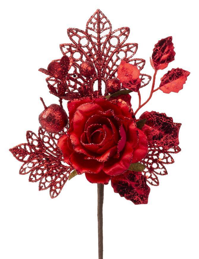 Vetvička s ružou, červená, 25,5cm, 6 ks