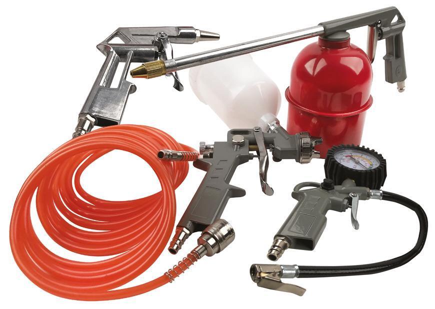 Sada na kompresor Airtool W-2005A1, 5 dielna, striekacia/ofukovacia/nafukovacia/rozprašovacia/hadica