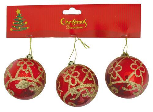 Gule MagicHome Vianoce, 3 ks, červené so zlatým ornamentom, 6 cm