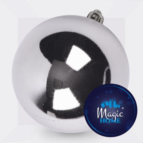 Guľa MagicHome Vianoce, 1 ks, strieborná, na vianočný stromček, 15 cm