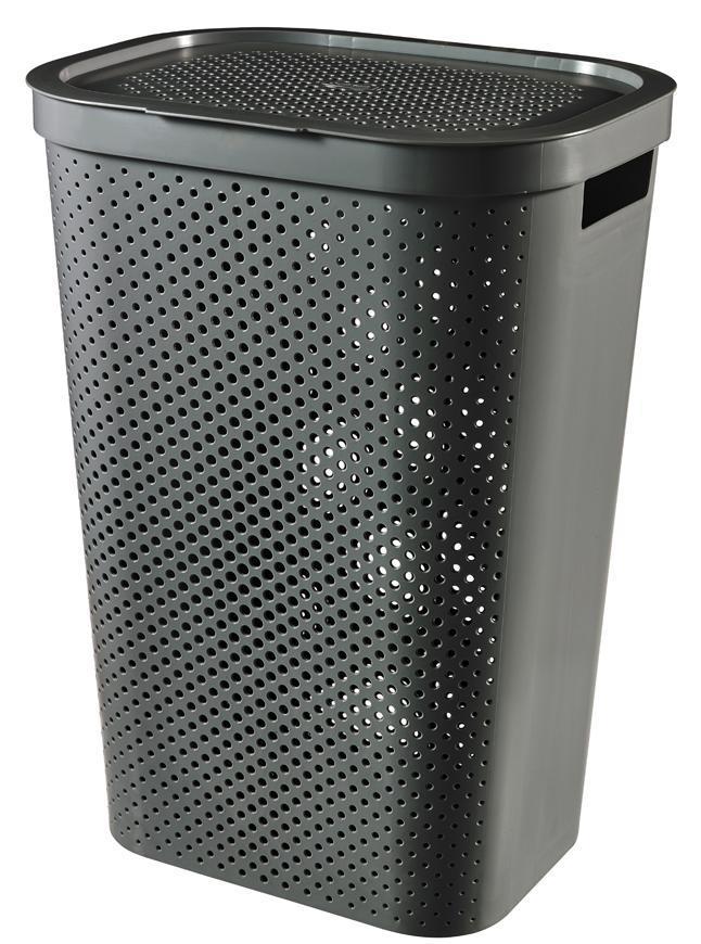 Kôš Curver® INFINITY RECYCLED 60L, antracit, 44x60x35 cm, na bielizeň, prádlo