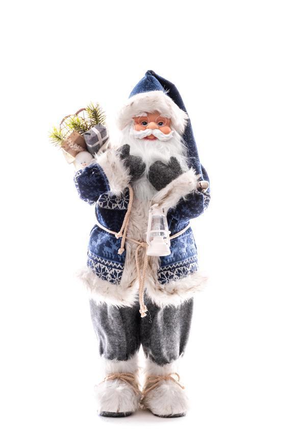 Dekorácia MagicHome Vianoce, Santa s batohom a lampášom, 41 cm