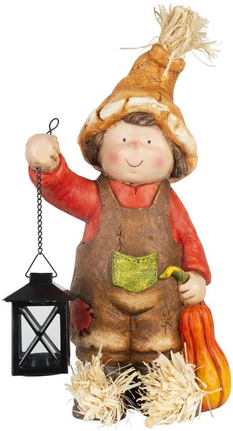 Dekorácia MagicHome Nature, Chlapček s lampášikom, keramika, 23,50x16x40,50 cm