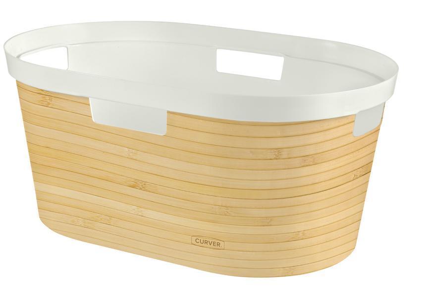Kôš Curver® INFINITY 39L, bambus, 58x27x39 cm, na bielizeň, prádlo