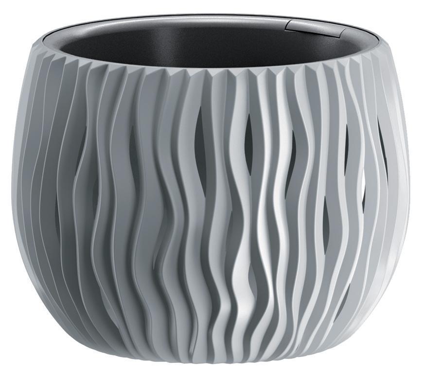 Kvetináč SANDY Bowl 240, 238x161 mm, šedá, vložka
