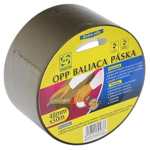 Páska Strend Pro, 48 mm, L-50 m, 40 µm, OPP, baliaca, lepiaca, hnedá