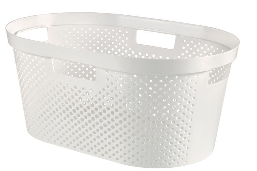 Kôš Curver® INFINITY RECYCLED 40L, biely, 59x39x27 cm, na bielizeň, prádlo