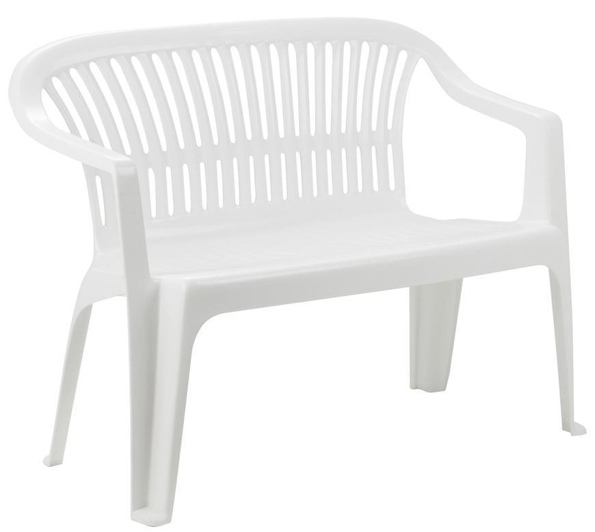 Lavička DIVA White, biela, 114x82x55 cm