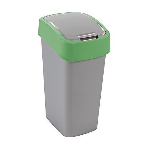 Kôš Curver® FLIP BIN 10L, šedostříbrná/zelená, na odpad