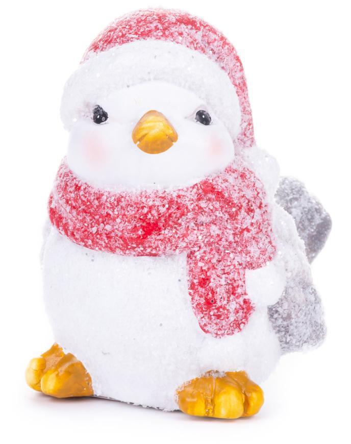 Dekorácia MagicHome Vianoce, Vtáčik samička, bordový šál, terakota, 13,80x9x12,80 cm