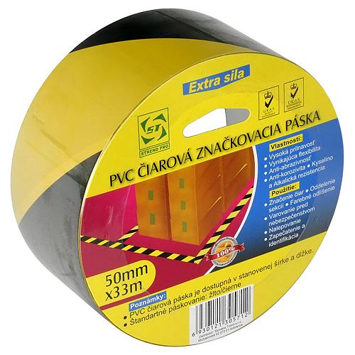 Paska Strend Pro, 50 mm, L-33 m, PVC, lepiaca, výstražná, žlto/čierna