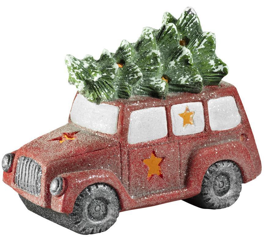 Dekorácia MagicHome Vianoce, Minivan so stromčekom, 1 LED, 3xAAA, keramika, 35x19x29 cm
