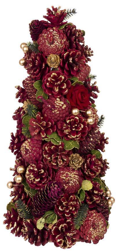 Stromček prírodný MagicHome, červeno-zlatý, 40 cm,