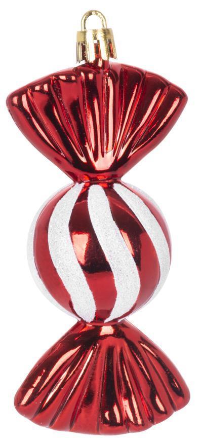 Ozdoba MagicHome Vianoce, sada, 4 ks, 11,5 cm, cukríky, červené, na vianočný stromček