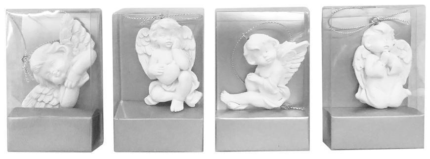 Dekorácia MagicHome, závesný anjel, polyresin, 5 cm, bal. sellbox 24 ks (mix. 4 vzorov)