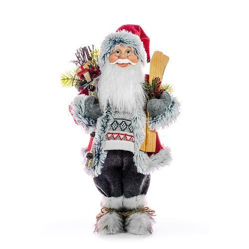 Dekorácia MagicHome Vianoce, Santa s lyžami a drevom, 60 cm