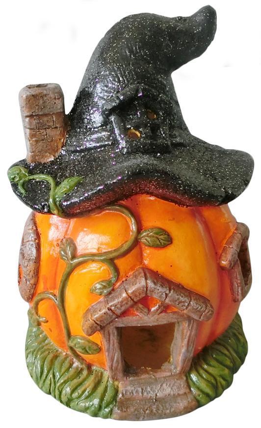 Dekoracia Xecco 2334, Tekvica, domček,s klobúkom, magnesia, 30 cm