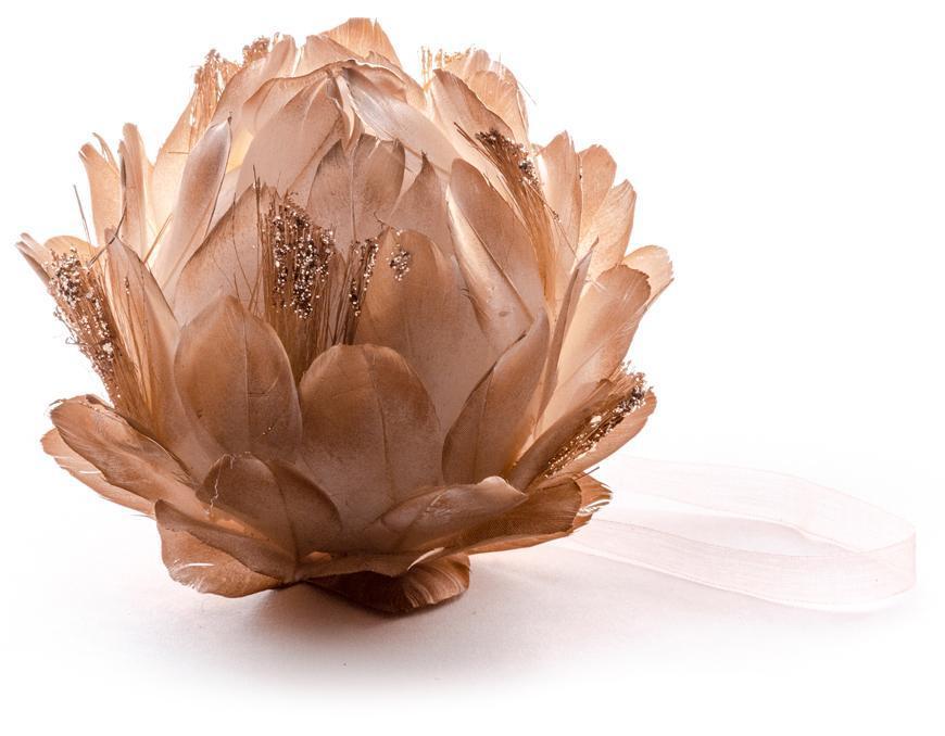 Dekorácia MagicHome, zlatá, 10 cm, závesná, páperová