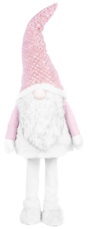 Postavička MagicHome Vianoce, Škriatok v šatách, látkový, ružovo-biely, 50x40x163 cm