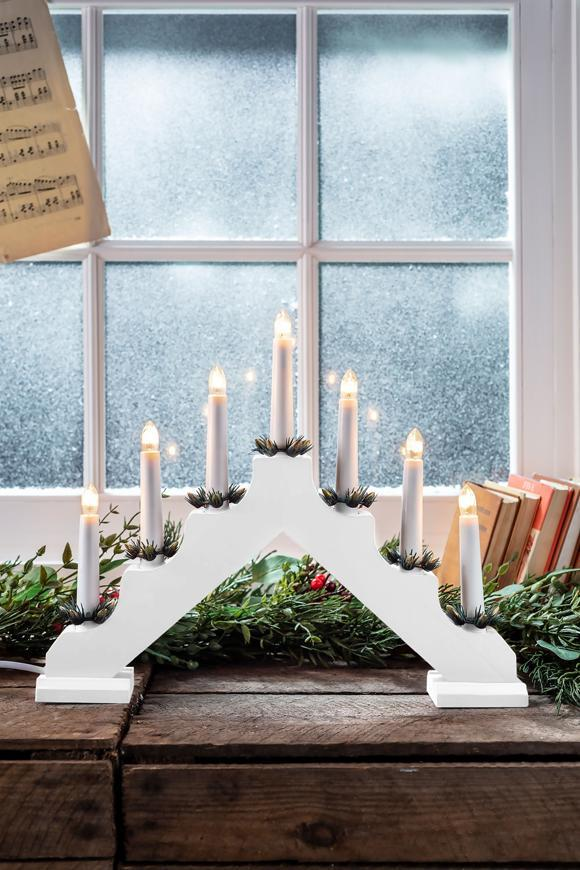 Svietnik MagicHome Vianoce, 7 LED teplá biela, biely, 2xAA, interiér, 39x31 cm