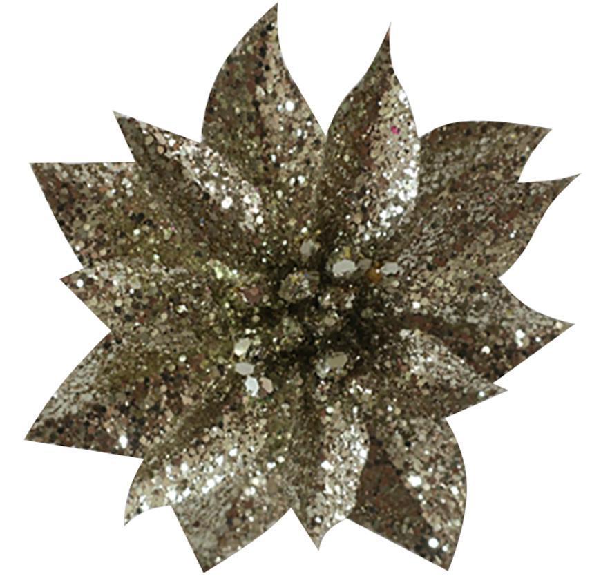 Kvet GlitterPoinsettia, so štipcom, šampaň, 9x8cm, 6 ks