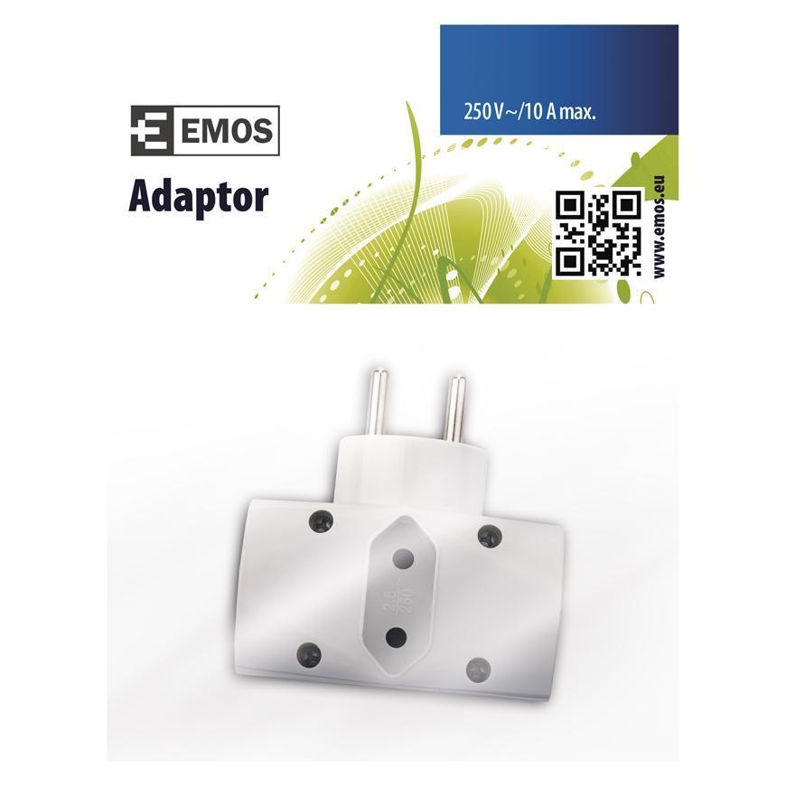 Zásuvka EMOS P0023, rozbočovacia, biela, 2× 2P + PE + 1× 2P, 230V