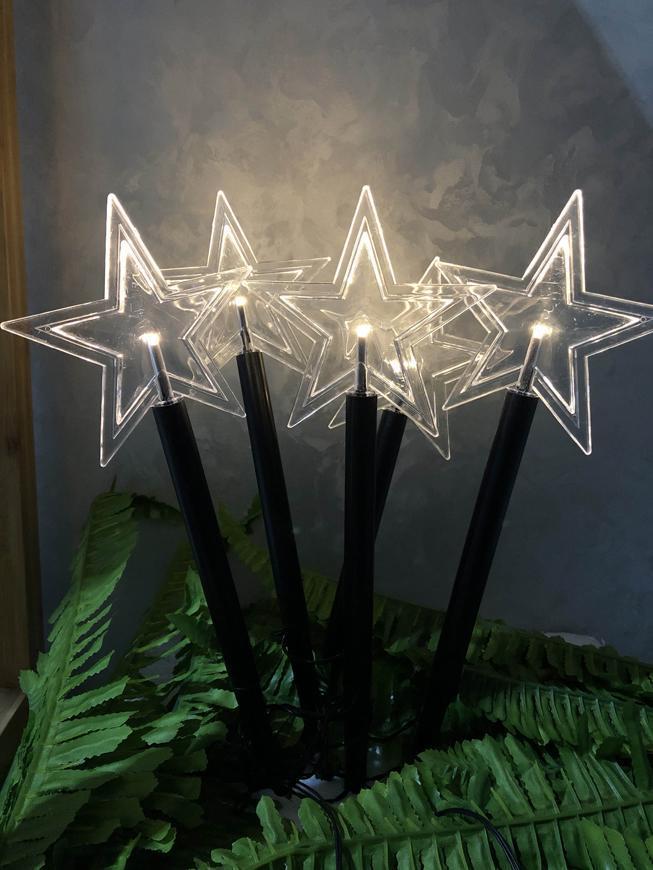 Reťaz MagicHome Vianoce 5 Star, LED, teplá biela, jednoduché svietenie, časovač, 3xAA, IP44, exterié