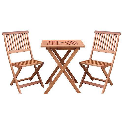 Set LEQ CARACAS, balkónový, drevený, 1x stôl + 2x stolička