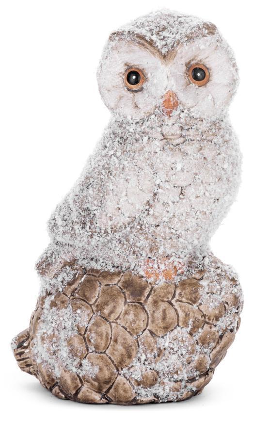 Dekorácia MagicHome Vianoce, Sova na šiške, terakota, 10x7x15 cm