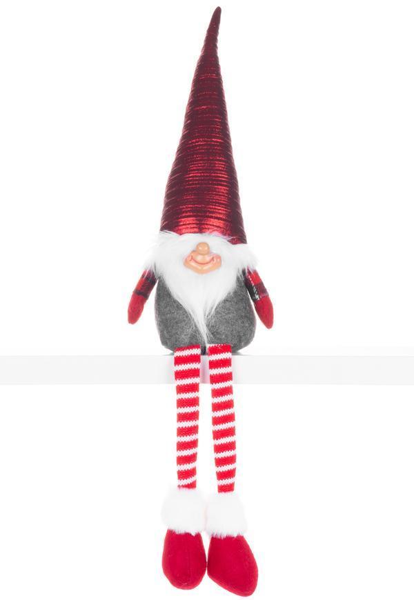 Postavička MagicHome Vianoce, Škriatok s dlhými nohami, látkový, červeno-sivý, 17x12x59 cm