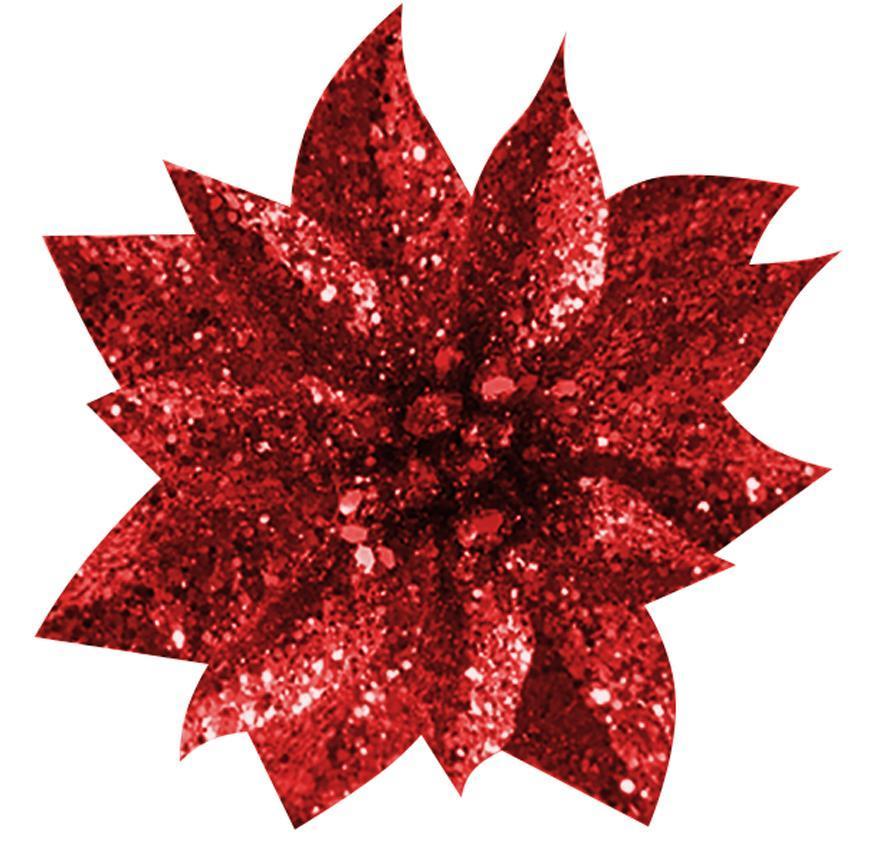 Kvet GlitterPoinsettia, so štipcom, červený, 9x8cm, 6 ks