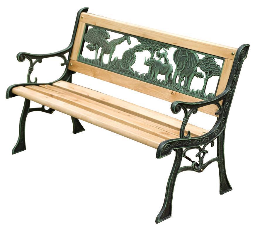 Lavička záhradná MINI JUMANJI, kov/drevo, malá, 82 x 50 x 39 cm